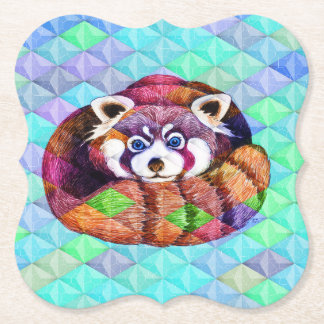 Red Panda bear on turquoise cubism Paper Coaster