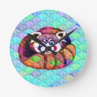 Red Panda bear on turquoise cubism Round Clock