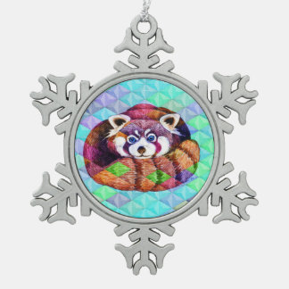 Red Panda bear on turquoise cubism Snowflake Pewter Christmas Ornament