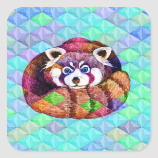 Red Panda bear on turquoise cubism Square Sticker