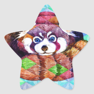 Red Panda bear on turquoise cubism Star Sticker
