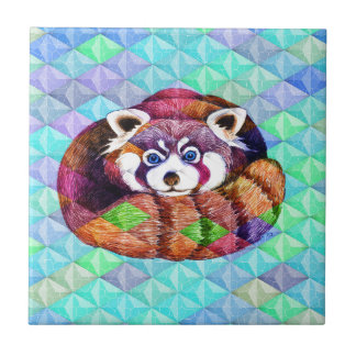 Red Panda bear on turquoise cubism Tile