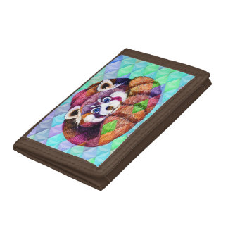 Red Panda bear on turquoise cubism Tri-fold Wallets