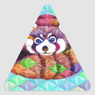 Red Panda bear on turquoise cubism Triangle Sticker