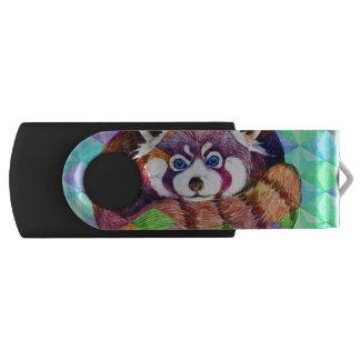 Red Panda bear on turquoise cubism USB Flash Drive