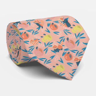 'Red Panda' Coral Pink Apple Neck Tie