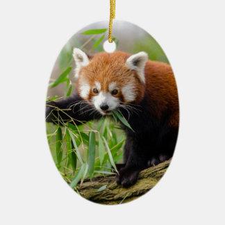 Red Panda Eating Green Leaf Ceramic Ornament