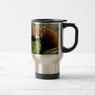 Red Panda Eating Green Leaf Travel Mug