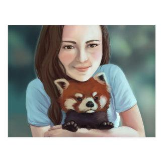 Red Panda Hug - Cute Red Panda Painting Postcard