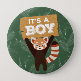 Red Panda It's a boy baby shower button