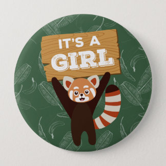 Red Panda It's a girl baby shower button
