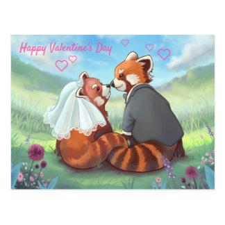 Red Panda Love Happy Valentine's Day Postcard