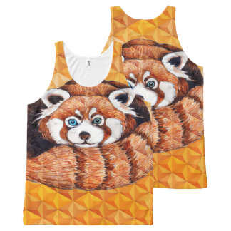 Red panda on orange Cubism Geomeric All-Over Print Singlet