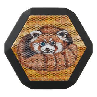 Red panda on orange Cubism Geomeric Black Bluetooth Speaker