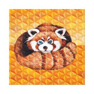 Red panda on orange Cubism Geomeric Canvas Print