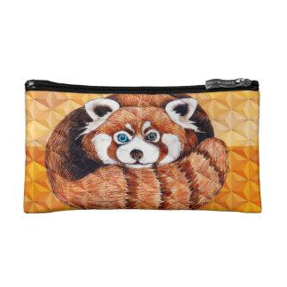 Red panda on orange Cubism Geomeric Cosmetic Bag