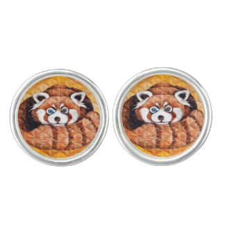 Red panda on orange Cubism Geomeric Cuff Links