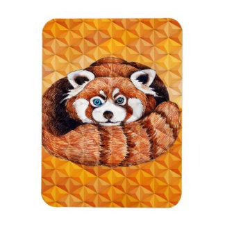 Red panda on orange Cubism Geomeric Magnet