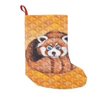Red panda on orange Cubism Geomeric Small Christmas Stocking