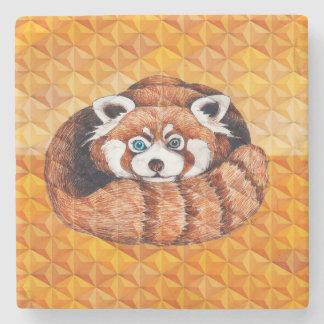 Red panda on orange Cubism Geomeric Stone Coaster