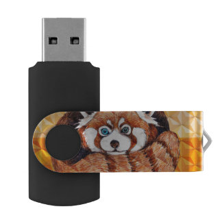 Red panda on orange Cubism Geomeric USB Flash Drive