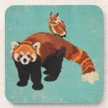 Red Panda & Owl Coaster