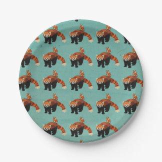 Red Panda & Owl Paper Plates