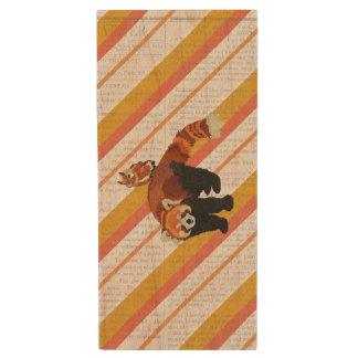 Red Panda & Owl Wooden USB Drive Wood USB 2.0 Flash Drive