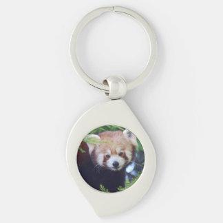Red Panda Silver-Colored Swirl Key Ring