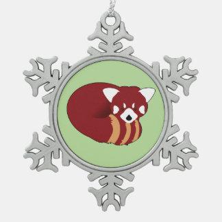Red Panda Snowflake Pewter Christmas Ornament