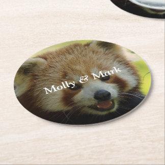 red panda round paper coaster