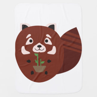 Red Panda with his bamboo plant Receiving Blankets