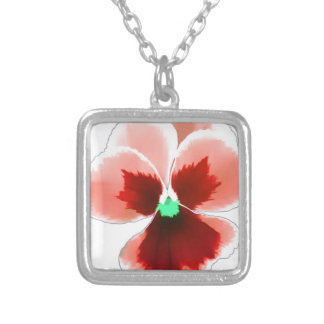 Red Pansy 201711b Silver Plated Necklace