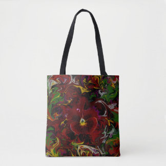 Red Pansy Flower Tote Bag