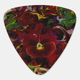 Red Pansy Guitar Pick