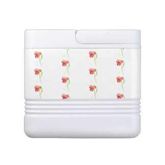 Red Pansy Minimal Watercolor Painting Cooler