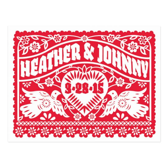 Red Papel Picado Save the Date postcard