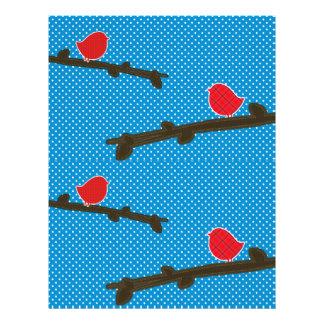 RED PAPER BIRDS SCRAPBOOK PAPER FULL COLOR FLYER