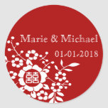 Red • Paper Cut Flowers • Double Happiness Round Sticker