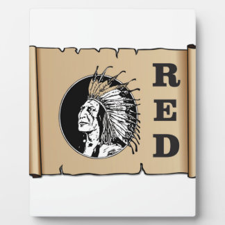 red paper indian plaque