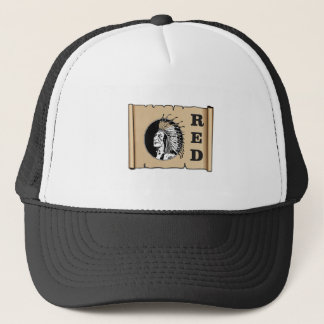 red paper indian trucker hat