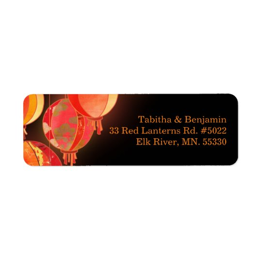 Red Paper Lanterns Black Wedding Address Return Address Label