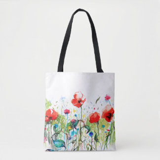 Red Pappies & Colorful Flowers Tote Bag