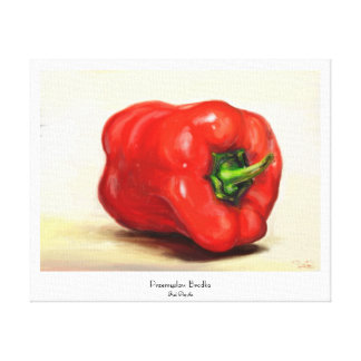 Red Paprika classic vegetable still life oil paint Canvas Print