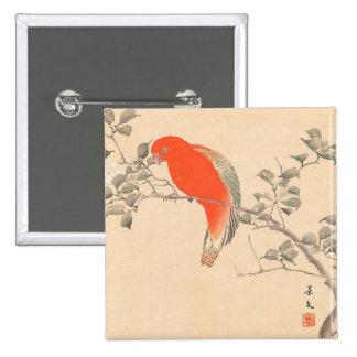 Red Parrot and White Flower Matsumoto Keibun Pins