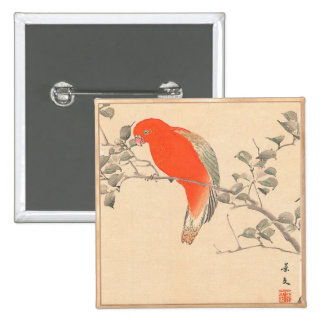 Red Parrot and White Flower Matsumoto Keibun Pin