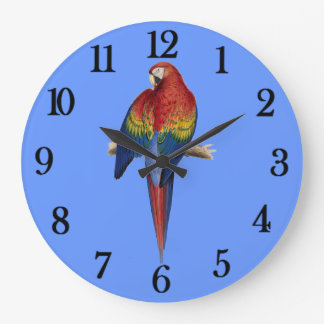 Red parrot Blue Background Wall Clock
