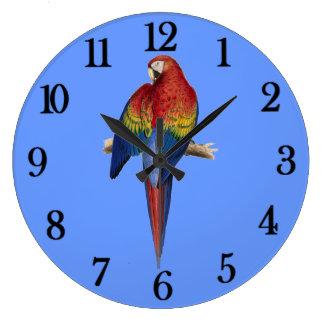 Red parrot wall clocks