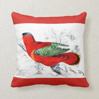 Red Parrot Throw Pillows