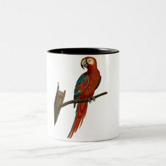 Red parrot draw Two-Tone coffee mug